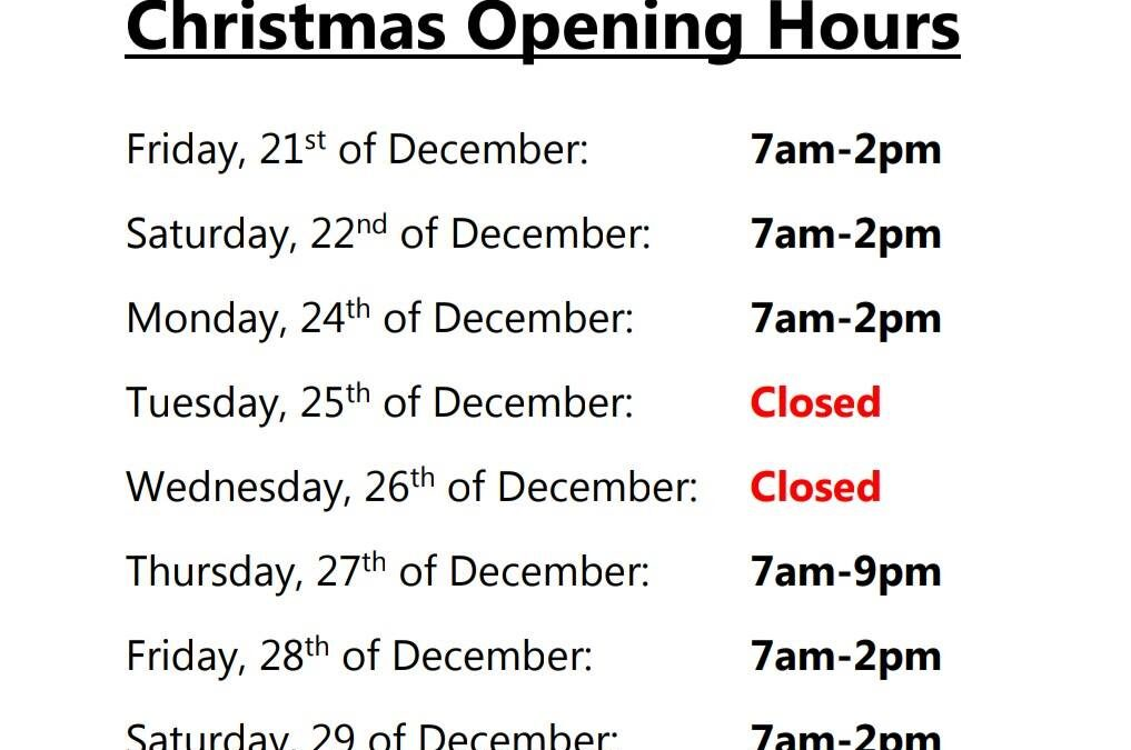 ???CHRISTMAS & NEW YEAR OPEN HOURS 2018/19???